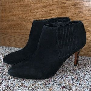 Coach Black Suede Ankle Boot Bootie Leopard Heel